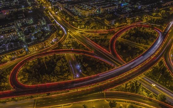Wallpaper Tianjin, viaduct, road, lights, night, city, China