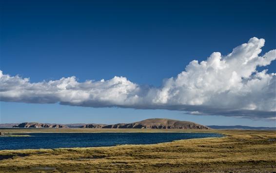 Fondos de pantalla Tíbet, paisaje hermoso de la naturaleza, lago, montañas, nubes