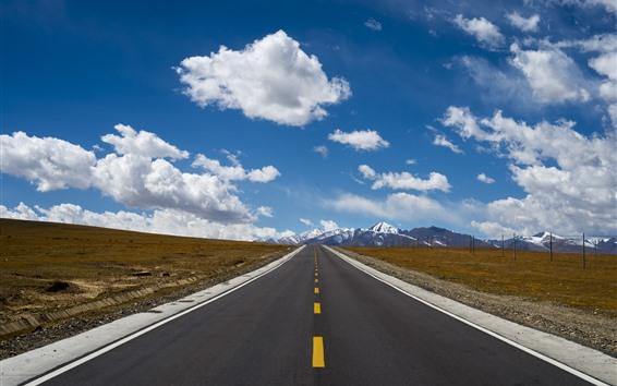Wallpaper Tibet, road, snow mountains, clouds, blue sky