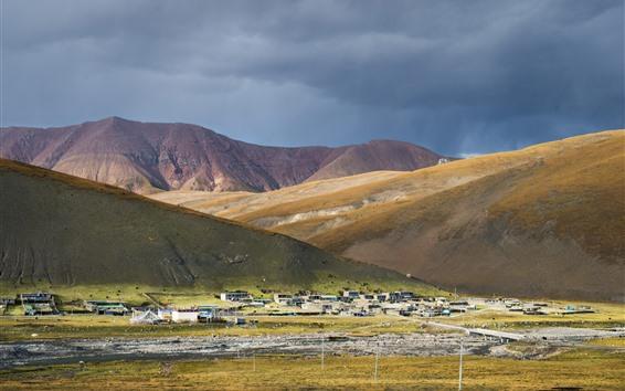 Hintergrundbilder Tibet, Dorf, Berge, China