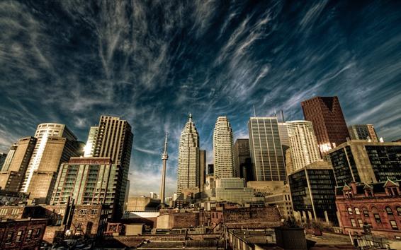 Fondos de pantalla Toronto, Canadá, rascacielos, torre, cielo, nubes, paisaje urbano