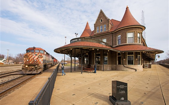 Wallpaper Train station, train, railroad, house