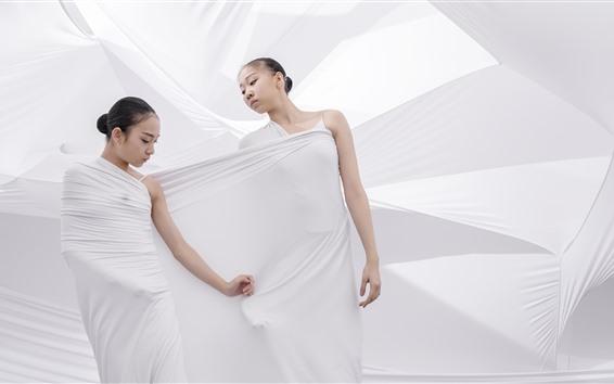 Fondos de pantalla Dos bailarinas, paño blanco, estilo artístico