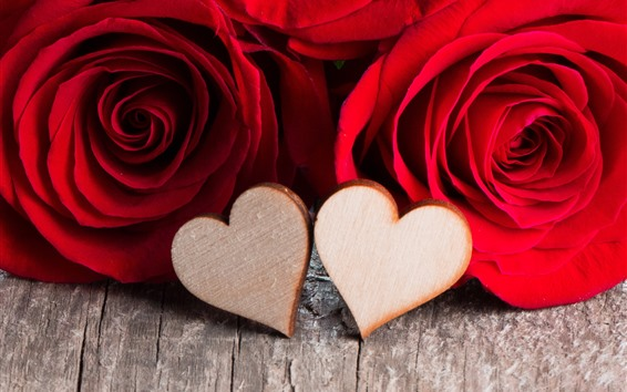 Papéis de Parede Dois corações do amor, rosas vermelhas