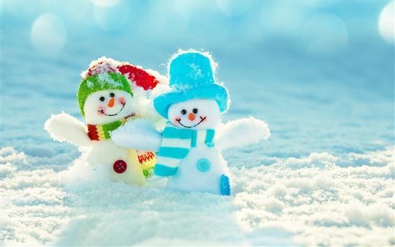 Wallpaper Two snowman, toys, snow, winter
