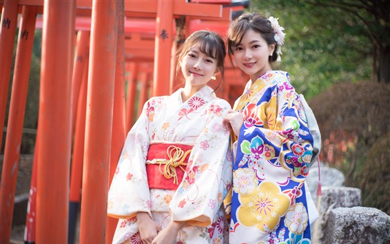 Wallpaper Two young Japanese girls, beautiful kimono