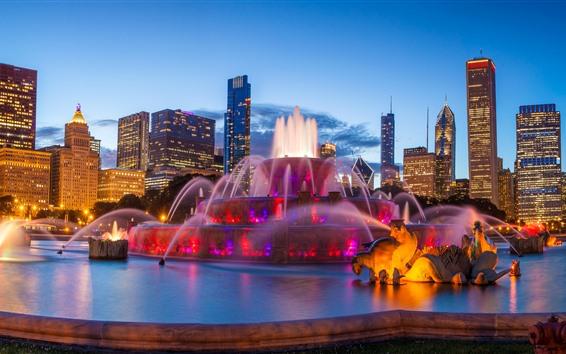 Papéis de Parede EUA, Chicago, fonte de Buckingham, noite, cidade, arranha-céus, luzes