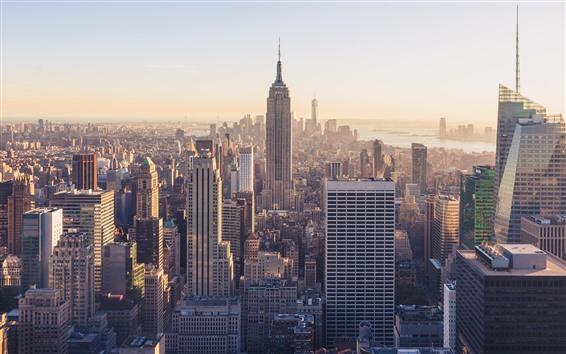 Fondos de pantalla Estados Unidos, Nueva York, edificio Empire State, rascacielos, ciudad, niebla, mañana