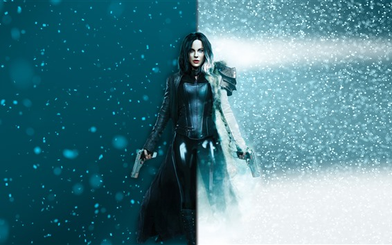 Fond d'écran Underworld: Blood Wars, Kate Beckinsale, neige, armes à feu