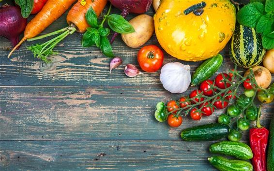 Papéis de Parede Legumes, abóbora, tomate, batata, cenoura, pepino