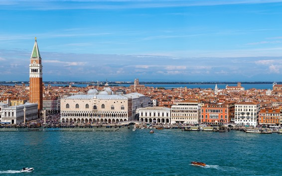 Wallpaper Venice, Italy, Palace, city, buildings, river, boats