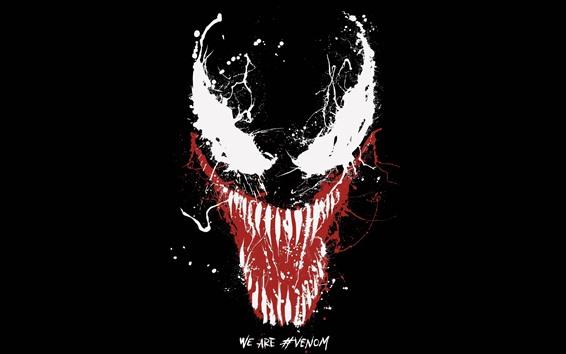 Papéis de Parede Venom, super-herói da maravilha, pintura, respingo, olhos, dentes, fundo preto
