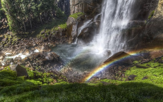 Wallpaper Waterfall, stream, water splash, rainbow