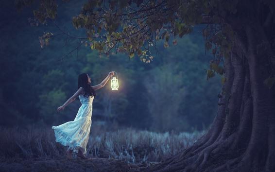 Fondos de pantalla Chica de la falda blanca, lámpara, árboles, noche
