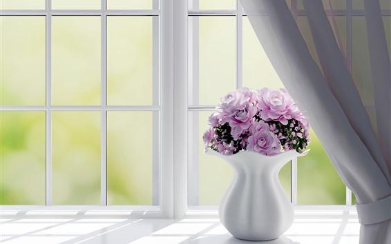 Обои Окно, розовые розы, ваза, дизайн интерьера