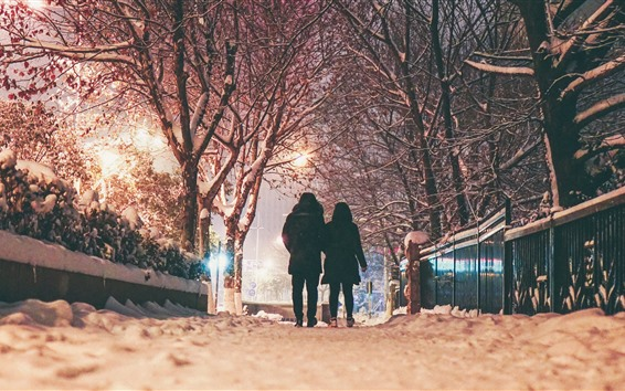 Wallpaper Winter, night, snow, trees, couple, rear view, lights, city