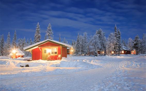 Fondos de pantalla Invierno, nieve, casas, arboles, luces.