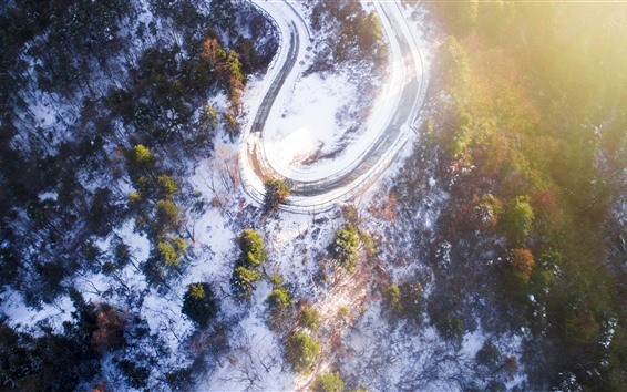 Fondos de pantalla Invierno, nieve, mañana, vista superior, árboles, niebla, sol