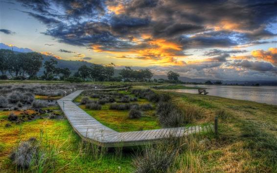 Обои Деревянный мост, берег, река, деревья, трава, облака, Сумерки