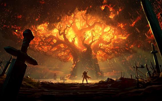 Papéis de Parede World of Warcraft: batalha por Azeroth, chama, árvore