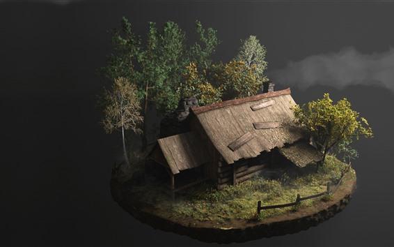 Papéis de Parede Design 3D, cabana, árvores