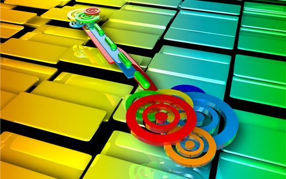 Papéis de Parede 3D retrato, círculos, cubos, colorido, chave