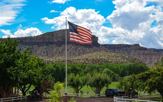 Fondos de pantalla Bandera de america, granja