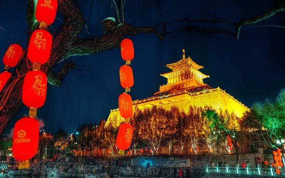 Wallpaper Ancient city building, lanterns, night, lights, China
