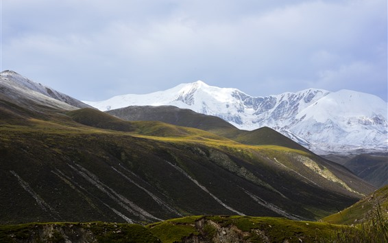 Wallpaper Animaqing Snow Mountain, slope, clouds, grass, China