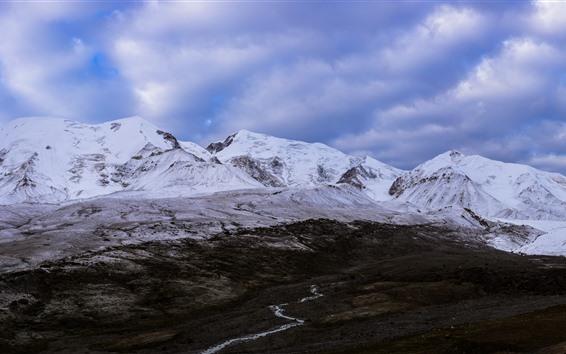 Fondos de pantalla Montaña nevada de Animaqing, nieve, nubes, Qinghai, China