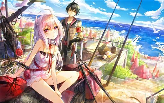 Fondos de pantalla Anime niña y niño, ciudad, mar, costa, gaviotas.