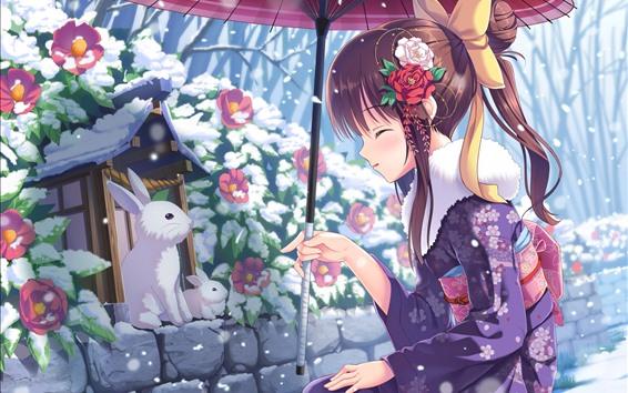 Wallpaper Anime girl and rabbit, winter, snow, umbrella