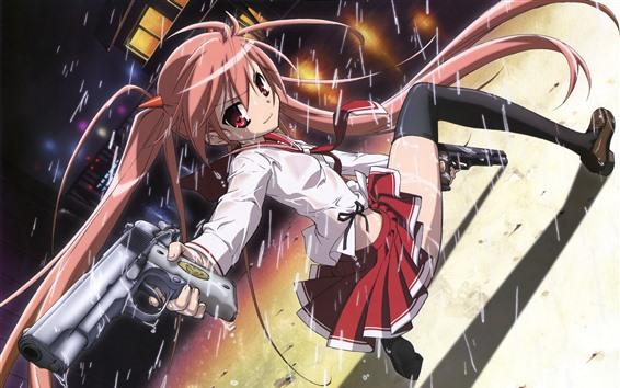 Fondos de pantalla Chicas de anime, pistolas, lluvia.