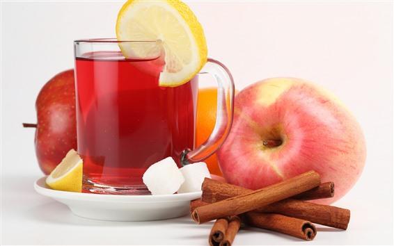 배경 화면 사과, 차, 계피, 레몬 슬라이스, 설탕