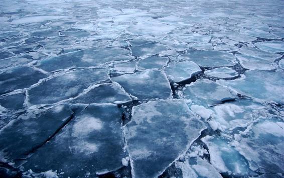 Wallpaper Arctic, ice slices, cracks, sea, cold