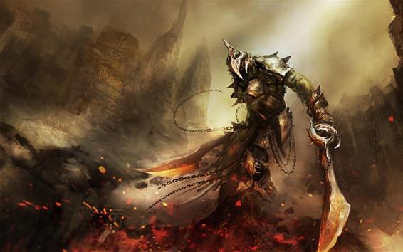 Fondos de pantalla Imagen de arte, Guerrero, espada, armadura