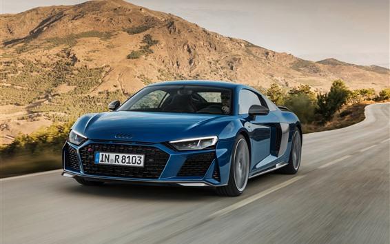 Обои Audi R8 2019 синий автомобиль скорость