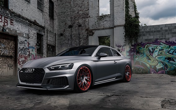 Обои Audi RS5 серебристый автомобиль