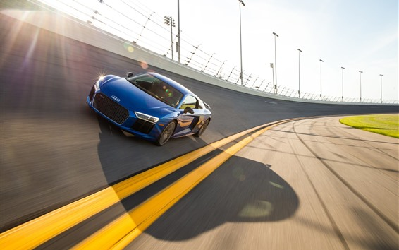 Обои Audi blue car speed, гоночная трасса