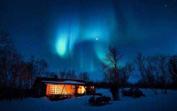Fondos de pantalla Aurora Boreal, estrellado, casa, árboles, nieve, noche, luces