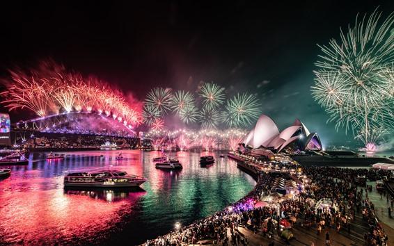 Fondos de pantalla Australia, Sydney, Bay, hermosos fuegos artificiales, noche