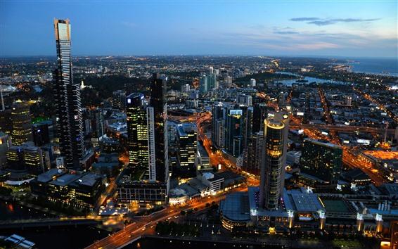Обои Австралия, город, вид сверху, небоскребы, ночь