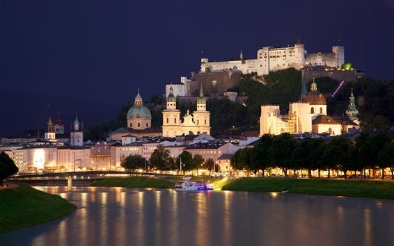 Wallpaper Austria, Salzburg, city, river, trees, castle, night, lights