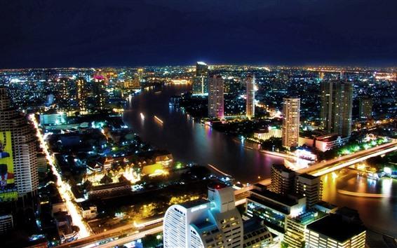 Fondos de pantalla Bangkok, Tailandia, noche de la ciudad, rascacielos, luces, río, puente