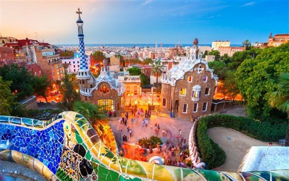 Papéis de Parede Barcelona, cidade, parque, crepúsculo