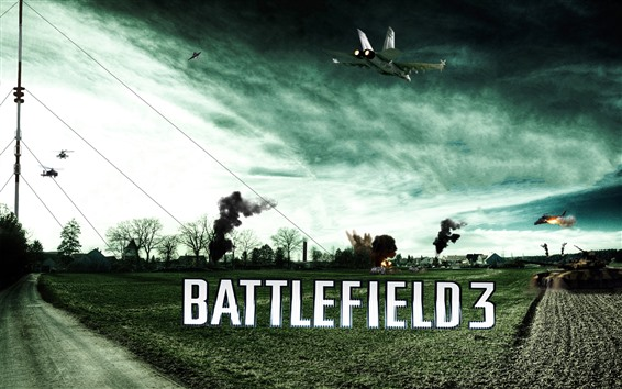 Wallpaper Battlefield 3, farmland, tank, fighter