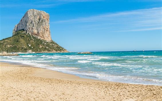 Wallpaper Beach, sea, rocks, waves, blue sky