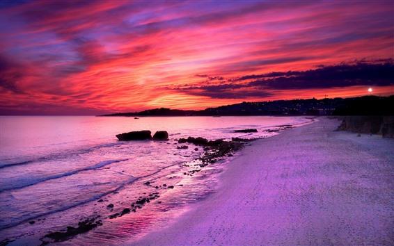 Wallpaper Beach, sea, sunset, city, lights, red sky