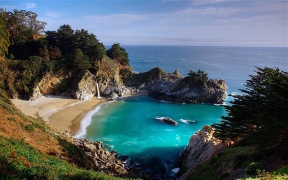 Fondos de pantalla Playa, mar, cascada, rocas