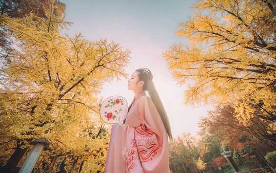 Wallpaper Beautiful Chinese girl, retro style, trees, autumn